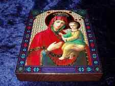 """ORTHODOX RUS.WOOD ICON - MOTHER OF GOD """"QUICK TO HEAR"""""""