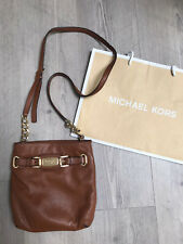 MICHAEL KORS HAMILTON TAN PEBBLED LEATHER GOLD CHAIN SIDE BAG SHOULDER MESSENGER