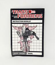 Transformers G1 Vintage SNARL Instructions Manual Booklet 1985 Hasbro