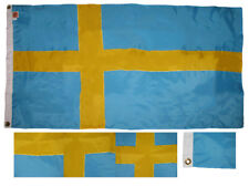 3x5 Embroidered Sewn Sweden Swedish 300-D Weathertex Nylon Flag With 2 Clips