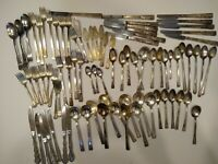 Vintage Antique Silverplate Silverware 85 pcs WM Rogers Oneida Spoon knives Fork