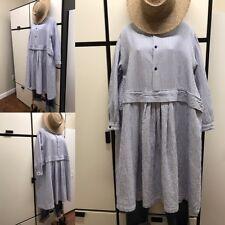 Veritecoeur Japan OS Cotton Silk Blue Stripe Classic Collar Pleated Bottom Dress