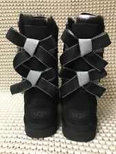 UGG SHORT BAILEY BOW II SHIMMER BLACK SUEDE BOOTS SIZE 6 WOMENS
