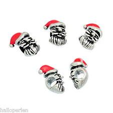 10 Red Tone Christmas X-mas Santa Claus Beads Fit Charm Bracelet 18mm x12mm