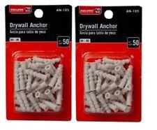 2 Pack 100 Plastic Drywall Anchors Hangers Mount Hang