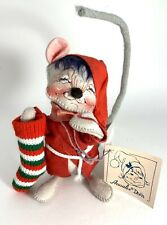 New Annalee Dolls Christmas Mouse Holding Stocking Vtg 7714 Hand Crafted Painted