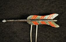 VINTAGE JAPANESE KANZASHI HAIR PIN GEISHA ORNAMENT / Lacquer & Mother of Pearl