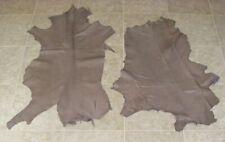 (Rva7456-4) 2 Hides of Grey Brown Lambskins Leather Hide Skin