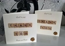 "Thank You Scrabble 6"" Card Personalised Parents Wedding Gift Friends Baby Help"