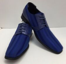 Men's Royal Blue Dress Shoes with Striped Satin Uppers Size 15 Viotti New