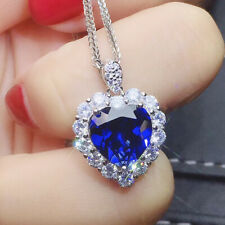 Fashion Heart 925 Silver Necklace Pendant for Women Blue Sapphire Jewlery Gift