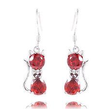 So So Cute New Silver Plated Ruby Red CZ Kitten Cat Dangle Drop Earrings
