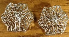 Vintage Sarah Coventry Signed Statement Silvertone Filigree Clip On Earrings