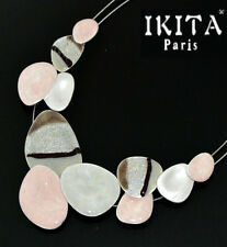 Luxus Statement Kette IKITA Paris Halskette Emaille Versilbert Kabel-Kette Zebra