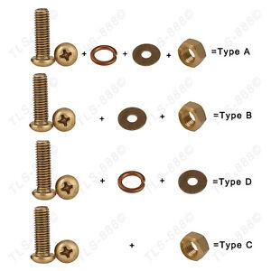 M6 Brass Phillips Round/Pan Head Screw+Nut+Flat+Spring Washer Kit Var. Match