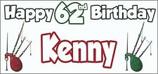 Bagpipes 62nd Birthday Banner X2 Party Decorations Mens Ladies Adults ANY NAME