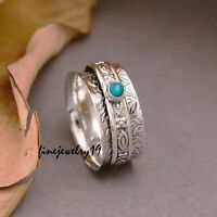 Details about  /Blue Sapphire 925 Sterling Silver Spinner Ring Meditation Statement Jewelry A385