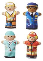 Melissa & Doug Kids Jolly Helpers Soft Plush Hand Puppets - Set of 4