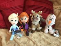 "DISNEY FROZEN 2 SET 4 x 8"" SOFT TOYS PLUSH ELSA ANNA SVEN OLAF NEW TAGS"
