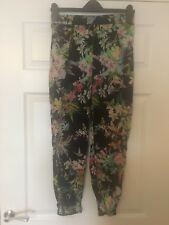 Zara Black Floral Flower Patterned Trousers with Side Pockets VGC Size Medium