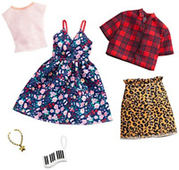 Barbie Clothes: 2 Outfits Doll Include A Floral Dress, Striped T-Shirt, Animal-P