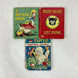 Vintage Whitman Tiny Tales Books Lot of 3 Mother Goose Buddy's Bears and Puffs