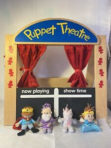 Puppet Theatre Show Time Playing Kids Wooden Toy With Mini 4 Puppet Figures