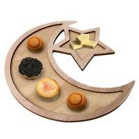 Wooden Moon Star Eid Ramadan Party Food Serving Tableware Dessert Tray Cake Dish