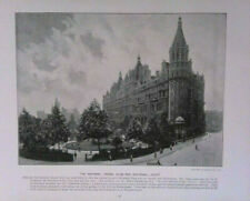 Antique Print 1896 - The National Liberal Club & Whitehall Court & Text