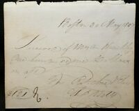 1807 Charles Wells 4th BOSTON Mayor Mass SENATOR SIGNED Receipt cut auto vtg