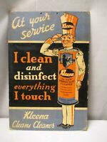 "Vintage Sign Board Cardboard Kleena The New Disinfectant And Cleaner Collectib""1"