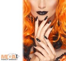 Black Nail Polish & Lipstick Halloween Fancy Dress Witch Make Up Accessory New