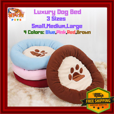 Plush Round Dog Bed Large/Medium/Small Pink/Blue/Brown/Red Cute Puppies Warm Mat