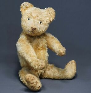 Antique pre WWII German Steiff Teddy Bear Brown Mohair Toy w/Glass Eyes 33cm.