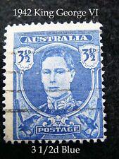 1942 Australian King George VI 3 1/2d Blue postage stamp