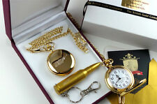 JAMES BOND 007 Gold Pocket Watch & USB Bullet Memory Stick Keyring Luxury Set