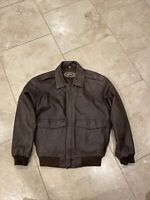 Vintage Orvis Mens Size M  Bomber Style Brown Genuine Leather Jacket