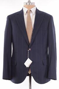 Brunello Cucinelli NWT Sport Coat Sz 40R Blue W/ Wide Tan Stripe Flannel $3,995