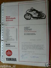 HT096-ORIGINAL AUTOGRAPH HANS MÜHLEBACH L.BORTOLUZZI YAMAHA 250,350,AUTOGRAMM,