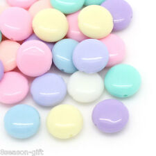 200PCs Candy Color Acrylic Spacer Beads Oblate Mixed 12x5mm