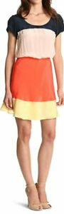 Julie Dillon Women's Size 12 Silk Color Block Orange, Yellow, Beige Dress