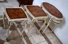 Vintage French Nesting Tables Gold White Finish original Distressed Patina