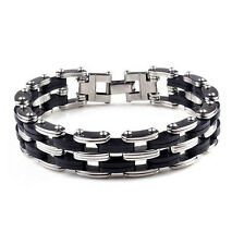 Men's Punk Stainless Steel Rubber Chain Wristband Clasp Cuff Bangle Bracelet