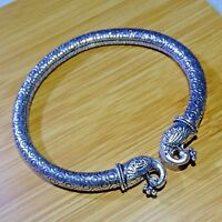 """925 Sterling Silver Plated Oxidized Bangle Cuff Bracelet Jewelry 2.75 """" Inch OB2"""