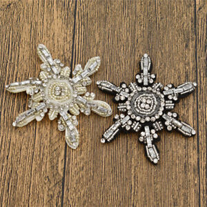 Sequins Beaded Flower Snowflake Patches Embroidery Badge Sewing on Accessorices