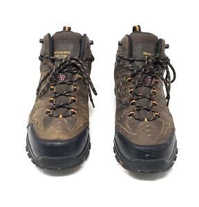 Skechers 77126 Delleker Lakehead ST Men's Work Boots Brown/Orange Size 12