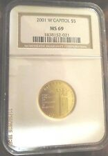 2001W U.S. Capitol Visitor Center Gold $5. NGC MS69 graded, certified 25% off
