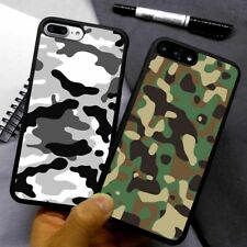 Camouflage Grey Army Green Silicone Phone Case Cover For iPhone Samsung Galaxy