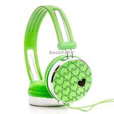 Boys Girls Kids Childs RockPapa Over Ear Love Hearts DJ Style Headphones Green