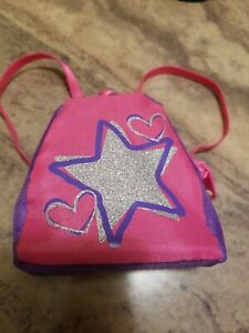 Build A Bear Backpack Book Bag Pink Purple Silver Star Hearts Toy Accessory